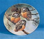 KNOWLES Collectible Plate/Figurine FORTY WINKS: SAW-WHET OWLS